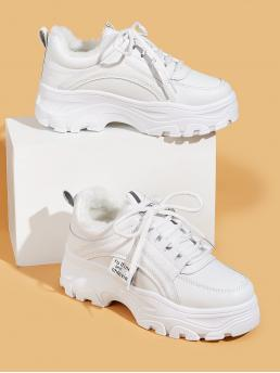 Comfort Round Toe Plain Flatform White Faux Fur Lined Lace-up Front Chunky Sneakers