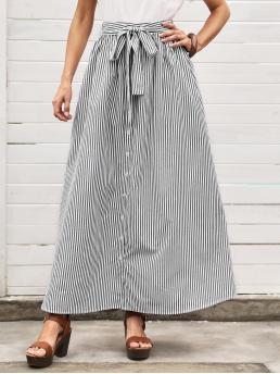 Discount White High Waist Double Button Flared Button Front Skirt