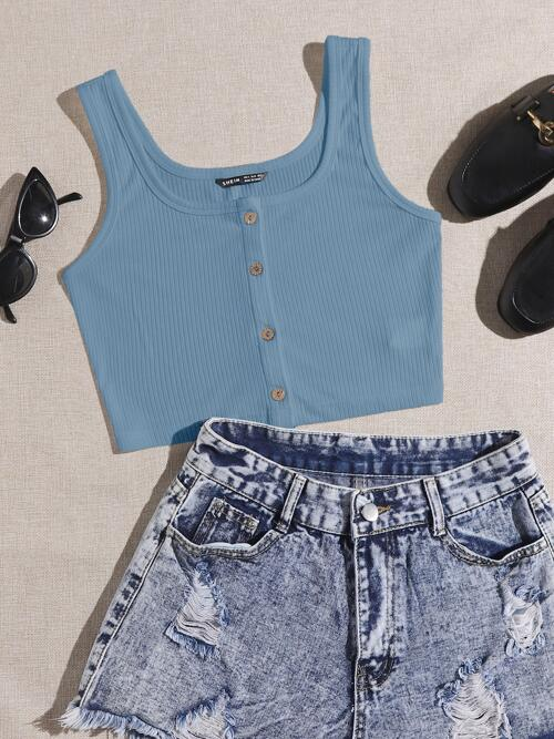 Tank Button Front Polyester Plain Top Ladies