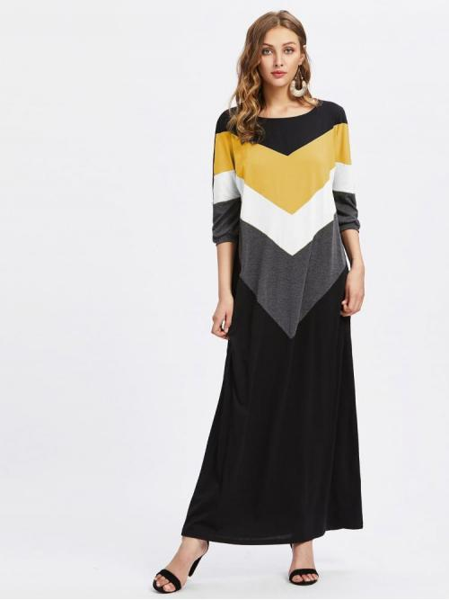 Clearance Multicolor Chevron Pocket Round Neck Contrast Cut and Sew Full Length Dress