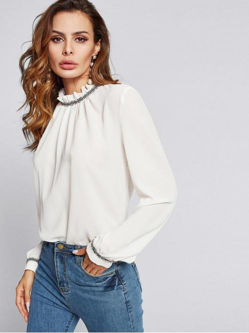Pretty Long Sleeve Top Frill Satin Neck Contrast Trim Top