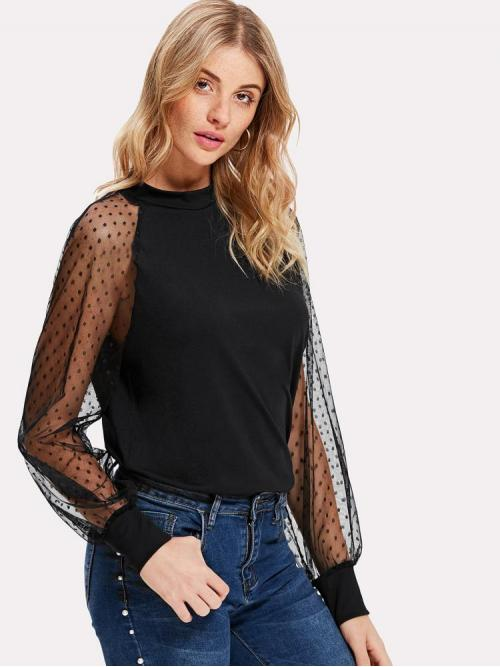 Fashion Long Sleeve Top Contrast Mesh Cotton Dobby Mesh Balloon Sleeve Top