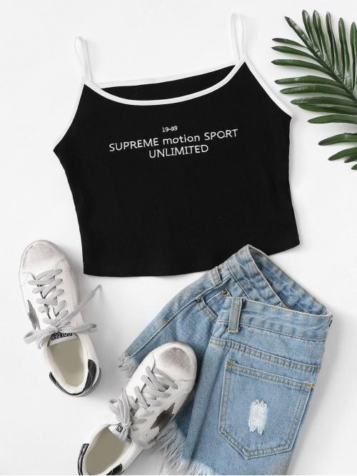 Casual Cami Letter Slim Fit Scoop Neck and Spaghetti Strap Black Crop Length Embroidered Rib Knit Ringer Cami Top
