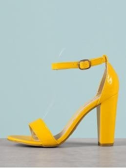 Elegant Peep Toe Ankle Strap Yellow High Heel Chunky Patent Single Band Chunky Heel