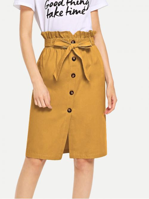 Yellow High Waist Belted Straight Waist Button Ruffle Split Ladies