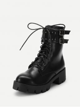 Combat Boots Round Toe Black Low Heel Chunky Ankle Buckle Lace-Up Boots
