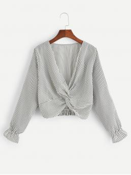Long Sleeve Top Twist Polyester Deep V-neck Blouse Discount