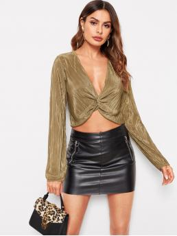 Glamorous and Sexy Top Plain Asymmetrical Regular Fit Deep V Neck Long Sleeve Pullovers Gold Crop Length Twist Front Solid Blouse