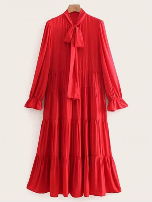 Cute A Line Plain Flounce Shift Long Sleeve High Waist Red Long Length Tie Neck Flounce Sleeve Tiered Dress