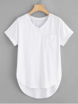 Basics Plain Regular Fit V neck Short Sleeve White Regular Length Plus Dip Hem Pocket Tee