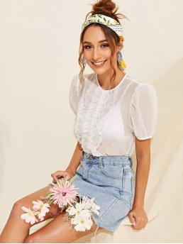 Sexy Plain Regular Fit Round Neck Short Sleeve Pullovers White Regular Length Lace Trim Puff Sleeve Sheer Top Without Bra