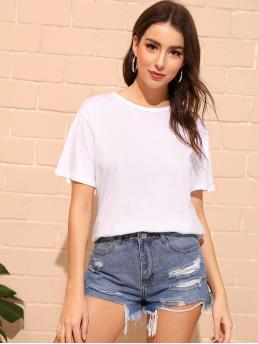 Casual Plain Regular Fit Round Neck Short Sleeve Pullovers White Regular Length Tie And Twist Back Solid Tee