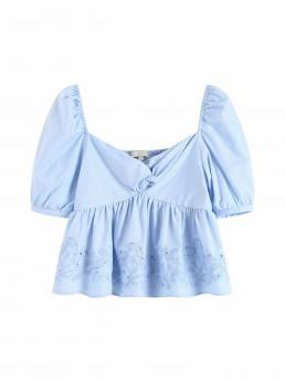Cute Plain Flared Peplum Regular Fit Sweetheart Short Sleeve Puff Sleeve Pullovers Blue Crop Length Twist Front Embroidery Shirred Peplum Blouse