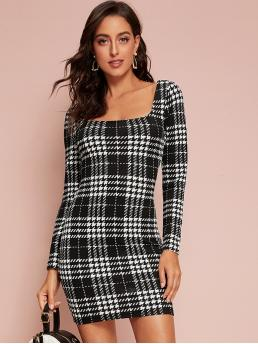 Elegant Bodycon Plaid Pencil Slim Fit Square Neck Long Sleeve Regular Sleeve Natural Black and White Short Length Square Neck Plaid Bodycon Dress