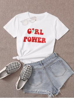 Casual Letter and Floral Regular Fit Round Neck Short Sleeve Regular Sleeve Pullovers White Regular Length Letter & Floral Print Tee