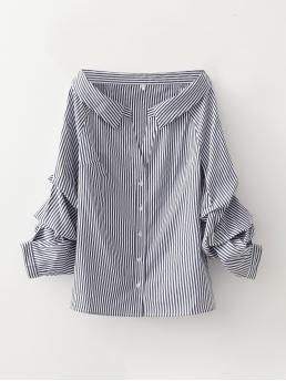 Pretty Long Sleeve Shirt Button Front Polyester Ruched Sleeve Blouse