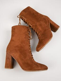 Brown Booties Lace up Chunky Faux Leather Ankle Boots Ladies