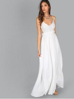 Glamorous and Sexy Cami Plain Regular Fit Deep V Neck and Spaghetti Strap Sleeveless High Waist White Maxi Length Lace Overlay Backless Pleated Maxi Dress with Lining