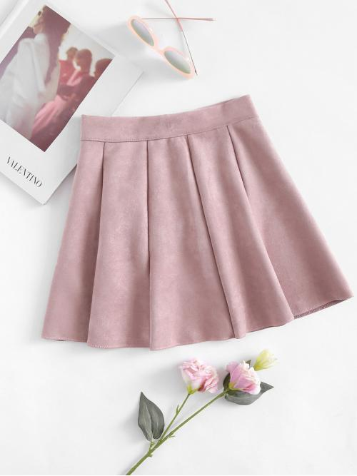 Dusty Pink Natural Waist Cut out Flared Box Pleated Suede Cheap