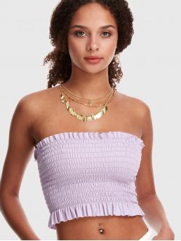 Casual Plain Slim Fit Strapless Purple Crop Length Frill Trim Solid Shirred Bandeau Top