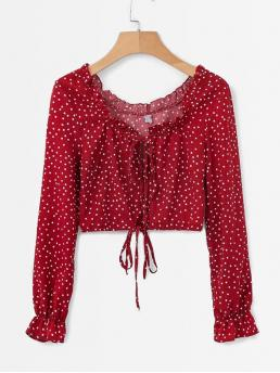 Casual Polka Dot Round Neck Long Sleeve Pullovers Red Regular Length Frill Trim Polka Dot Crop Blouse