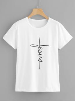 Casual Letter Regular Fit Round Neck Short Sleeve Pullovers White Regular Length Letter Graphic Round Neck Tee