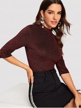 Glamorous Plain Slim Fit Stand Collar Half Sleeve Pullovers Burgundy Regular Length Mock Neck Glitter Fitted Top