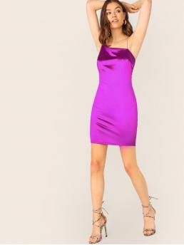 Glamorous and Sexy Cami Plain Spaghetti Strap Sleeveless Natural Purple Mini Length Asymmetric Neckline Satin Mini Slip Dress with Lining