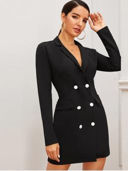 Womens Long Sleeve Dress Double Button Polyester Solid Blazer