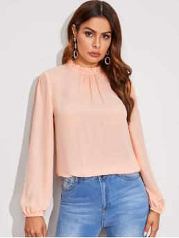 Elegant Plain Top Regular Fit Stand Collar Long Sleeve Bishop Sleeve Pullovers Pink and Pastel Regular Length Frill Neck Lantern Sleeve Top