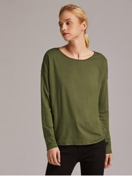 Casual Plain Regular Fit Round Neck Long Sleeve Regular Sleeve Pullovers Army Green Regular Length Premium Drop Shoulder Knot Back Top