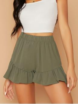 Casual Regular Elastic Waist High Waist Army Green Elastic Waist Ruffle Hem Shorts