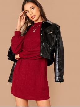Casual Tee Plain Straight Loose Stand Collar Long Sleeve Bishop Sleeve Natural Burgundy Short Length Drop Shoulder Mock-neck Rib-knit Dress