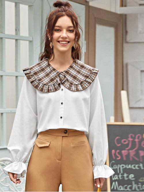 Preppy Plaid Top Regular Fit Peter Pan Collar Long Sleeve Flounce Sleeve Pullovers White Regular Length Ruffle Trim Plaid Peter Pan Collar Blouse