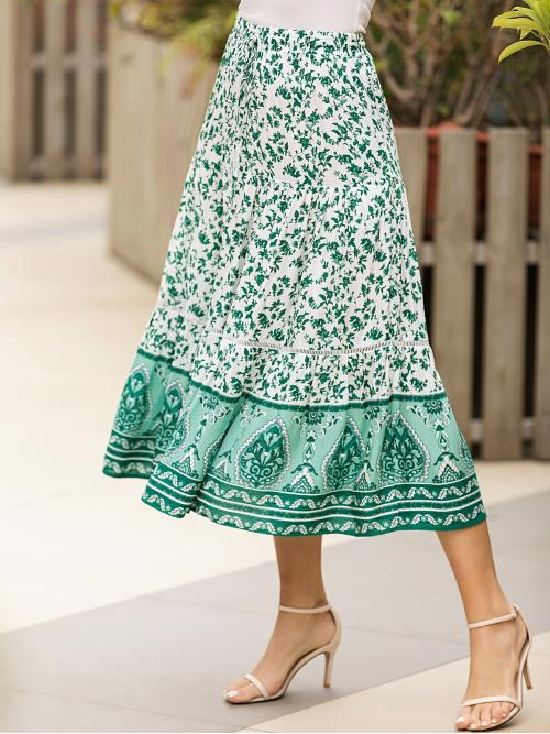 Boho A Line Tribal and Plants High Waist Green Long/Full Length Lace Insert Plants & Tribal Print Skirt with Lining