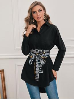 Fashion Long Sleeve Tunic Button Front Polyester Solid Blouse with Scarf Print Belt