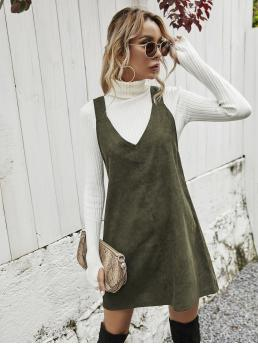 Army Green Plain V Neck Short Solid Dress Without Sweater Trending now