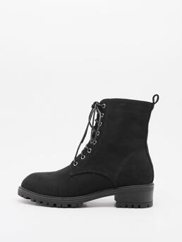 Women's Black Suede Rubber Pu Leather Minimalist Lace up Front Combat Boots