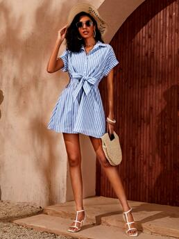 Fashion White Striped Button Front Collar Bow Front Shirt Dress