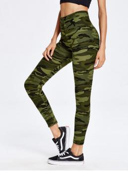 Sporty Regular Multicolor Cropped Length Camouflage Print Ankle Leggings