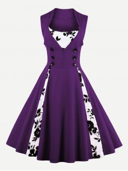 Vintage A Line Floral Ball Gown Regular Fit Square Neck Sleeveless Natural Purple Midi Length Contrast Panel Double Breasted Circle Dress