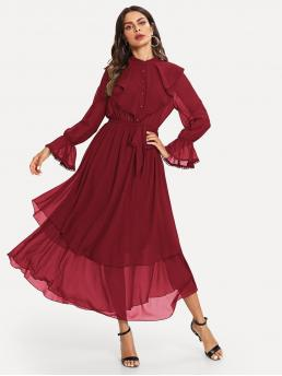 Vintage and Elegant A Line Plain Layered/Tiered Stand Collar Long Sleeve Flounce Sleeve High Waist Burgundy Maxi Length Ruffle Detail Crochet Trim Flowy Dress with Belt