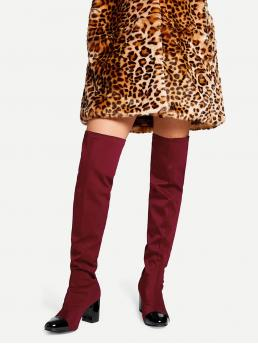 Sock Boots Round Toe No zipper Burgundy High Heel Chunky Cap Toe Block Heeled Thigh High Boots