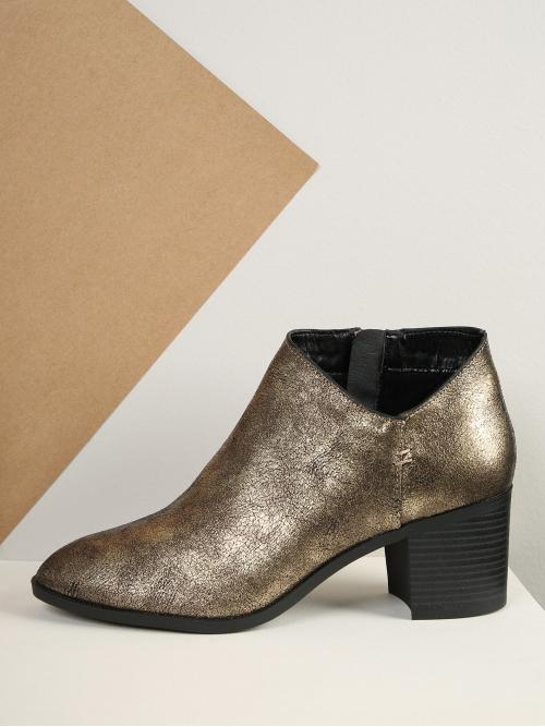 Polyester Gold Stretch Boots Ripped Distressed Faux Leather Booties Sale