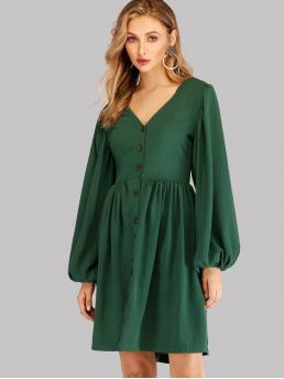 Dark Green Plain Button V Neck Single Breasted Dress Ladies