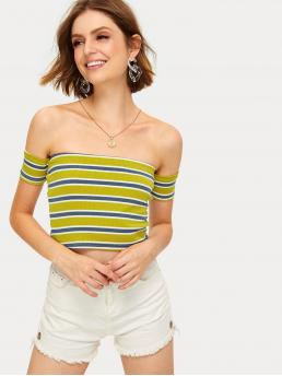 Sexy Striped Slim Fit Off the Shoulder Short Sleeve Pullovers Multicolor Crop Length Striped Off The Shoulder Crop Tee