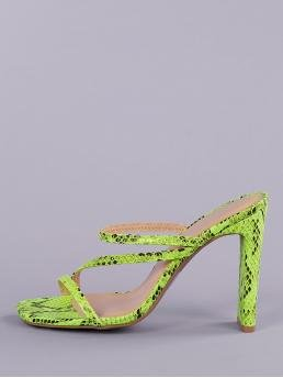 Glamorous Open Toe Snakeskin Print Green High Heel Chunky Neon Embossed Snake Strappy Square Toe Heels