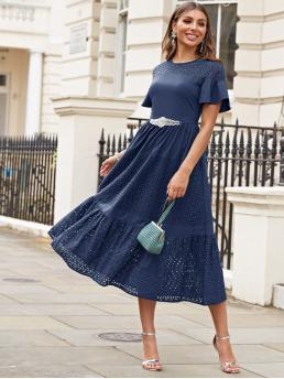Boho A Line Plain Flounce Regular Fit Round Neck Short Sleeve High Waist Navy Long Length Flounce Sleeve Layered Schiffy Dress