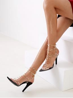 Glamorous Point Toe Multicolor High Heel Stiletto Studded Decor T Strap Pointed Toe Heels