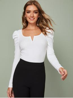 Elegant Plain Slim Fit Notched Long Sleeve Pullovers White Regular Length V-Cut Neck Puff Sleeve Rib-knit Top
